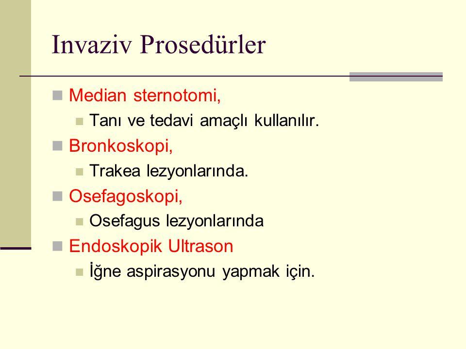 Invaziv Prosedürler Median sternotomi, Bronkoskopi, Osefagoskopi,