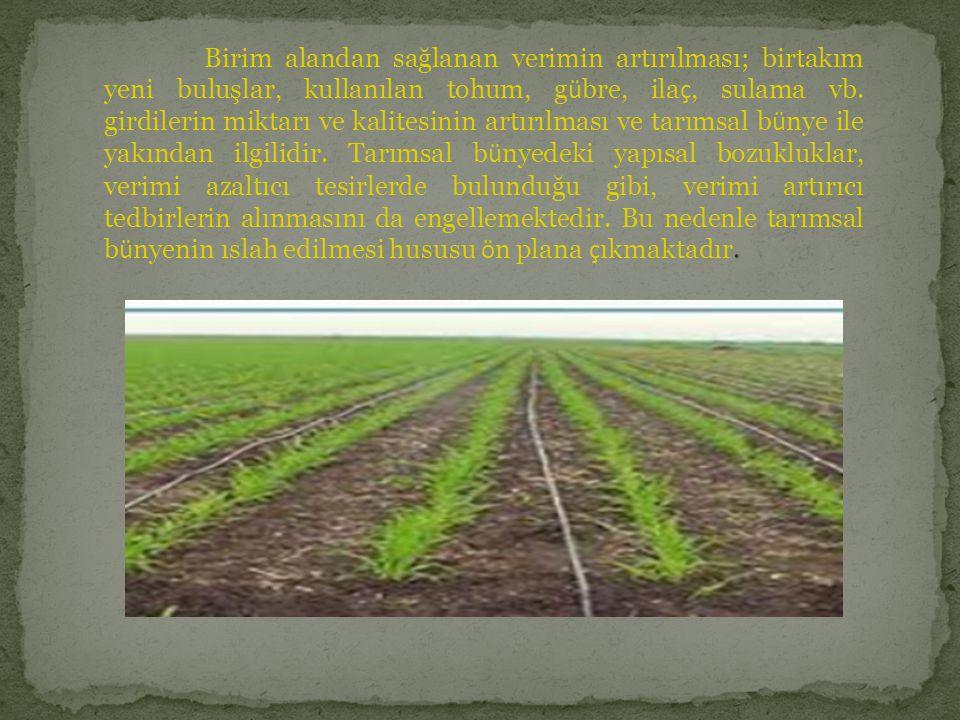 Birim alandan sağlanan verimin artırılması; birtakım yeni buluşlar, kullanılan tohum, gübre, ilaç, sulama vb.