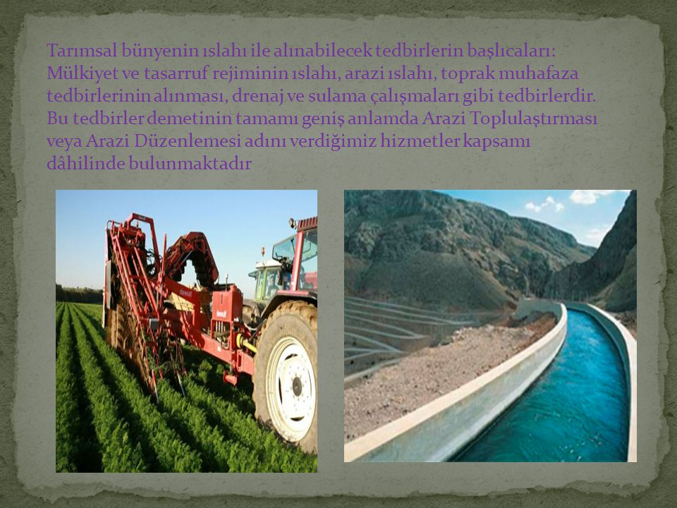 Tarımsal bünyenin ıslahı ile alınabilecek tedbirlerin başlıcaları: Mülkiyet ve tasarruf rejiminin ıslahı, arazi ıslahı, toprak muhafaza tedbirlerinin alınması, drenaj ve sulama çalışmaları gibi tedbirlerdir.