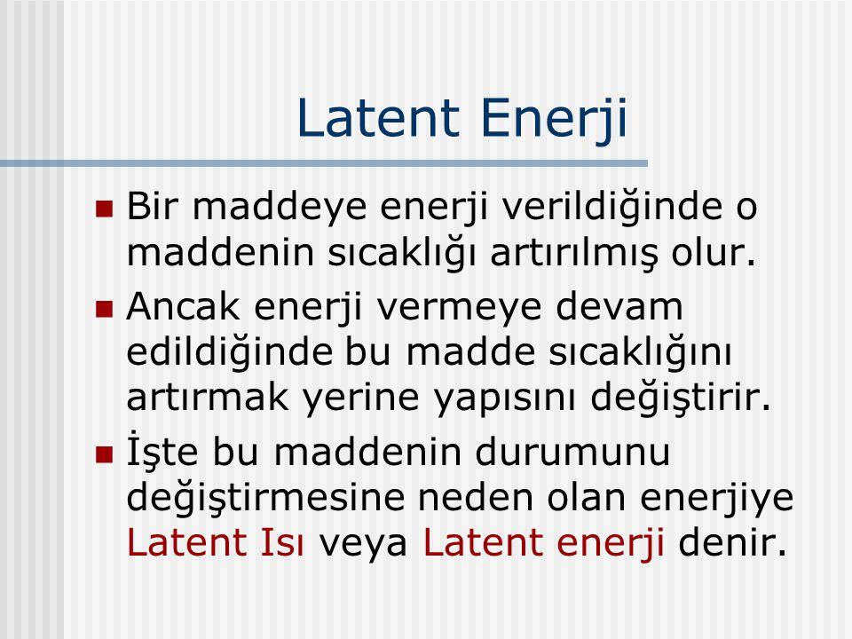 Latent Enerji Bir maddeye enerji verildiğinde o maddenin sıcaklığı artırılmış olur.