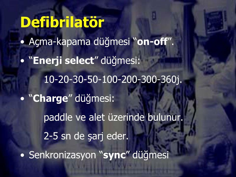 Defibrilatör Açma-kapama düğmesi on-off . Enerji select düğmesi: