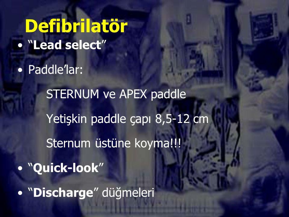 Defibrilatör Lead select Paddle'lar: STERNUM ve APEX paddle