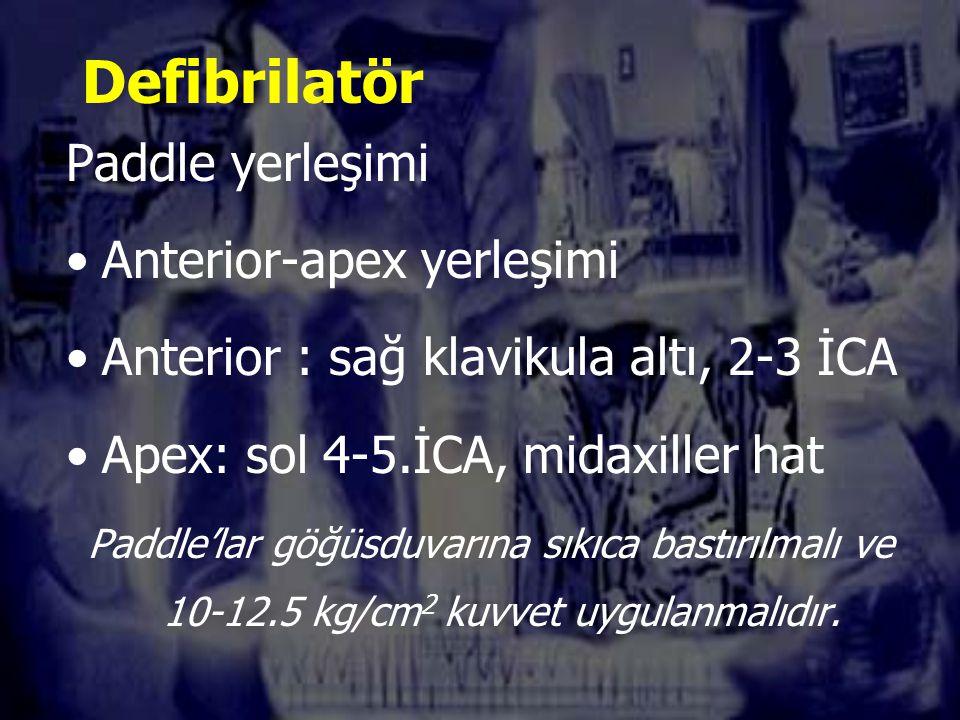 Defibrilatör Paddle yerleşimi Anterior-apex yerleşimi