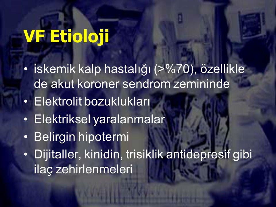 VF Etioloji iskemik kalp hastalığı (>%70), özellikle de akut koroner sendrom zemininde. Elektrolit bozuklukları.