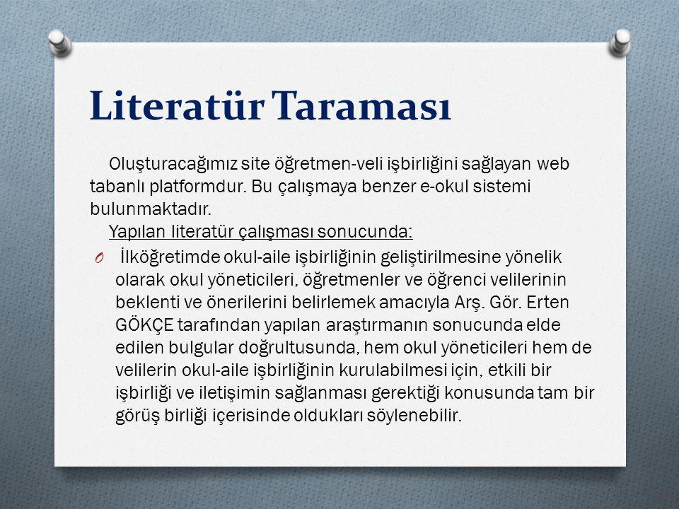 Literatür Taraması Oluşturacağımız site öğretmen-veli işbirliğini sağlayan web tabanlı platformdur. Bu çalışmaya benzer e-okul sistemi bulunmaktadır.