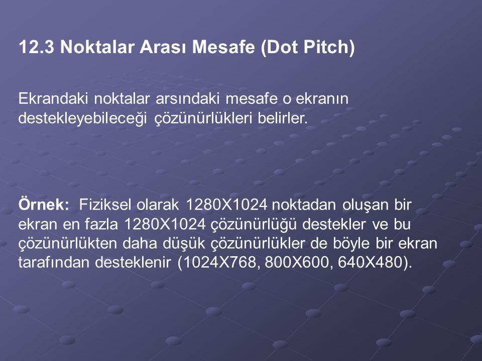 12.3 Noktalar Arası Mesafe (Dot Pitch)