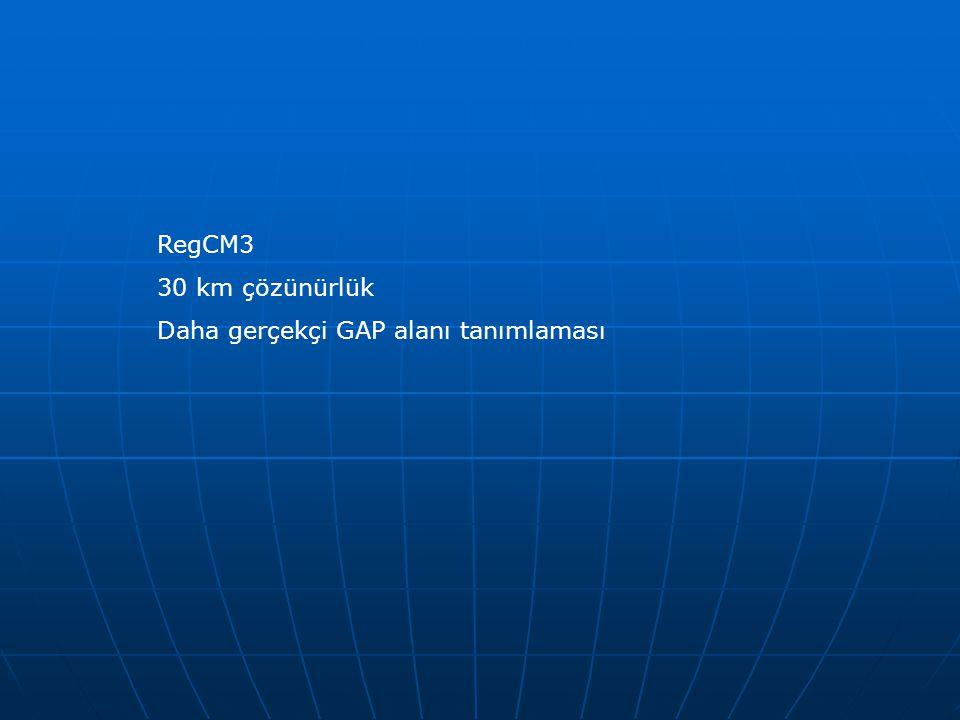 RegCM3 30 km çözünürlük Daha gerçekçi GAP alanı tanımlaması