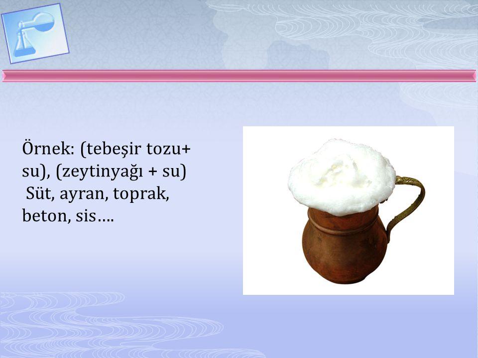 Örnek: (tebeşir tozu+ su), (zeytinyağı + su) Süt, ayran, toprak, beton, sis….