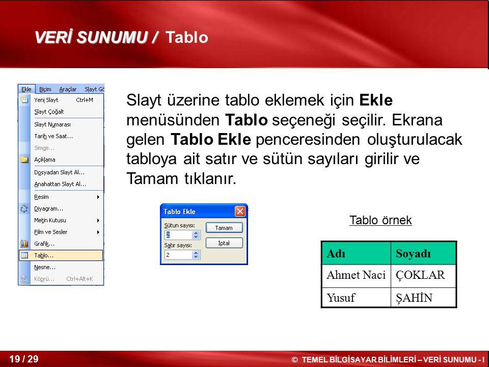VERİ SUNUMU / Tablo
