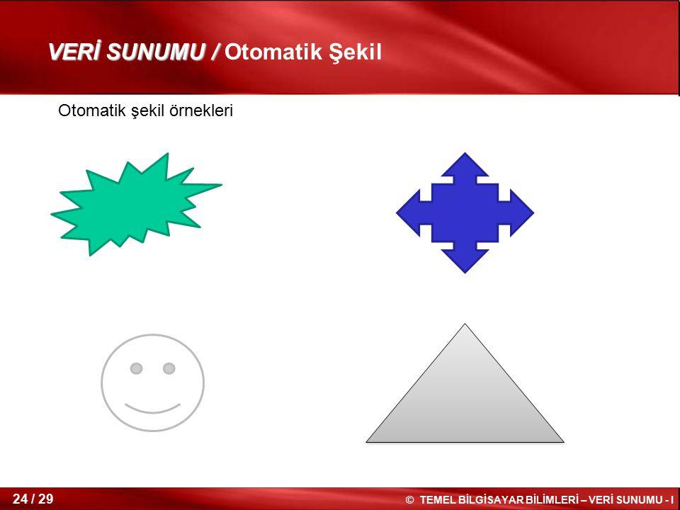 VERİ SUNUMU / Otomatik Şekil