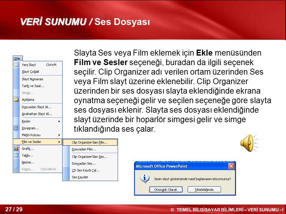 VERİ SUNUMU / Ses Dosyası