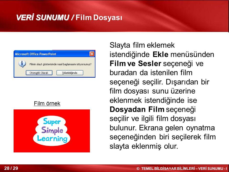 VERİ SUNUMU / Film Dosyası