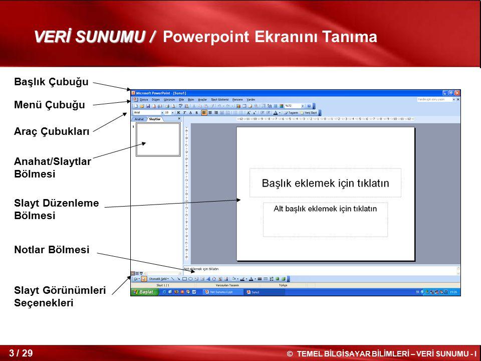 VERİ SUNUMU / Powerpoint Ekranını Tanıma