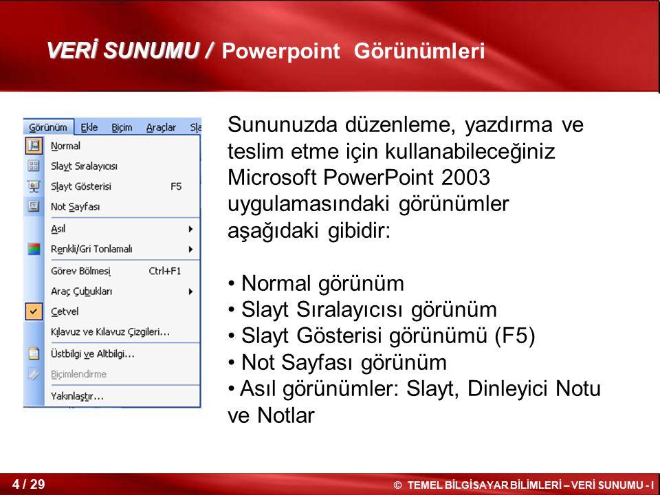 VERİ SUNUMU / Powerpoint Görünümleri.