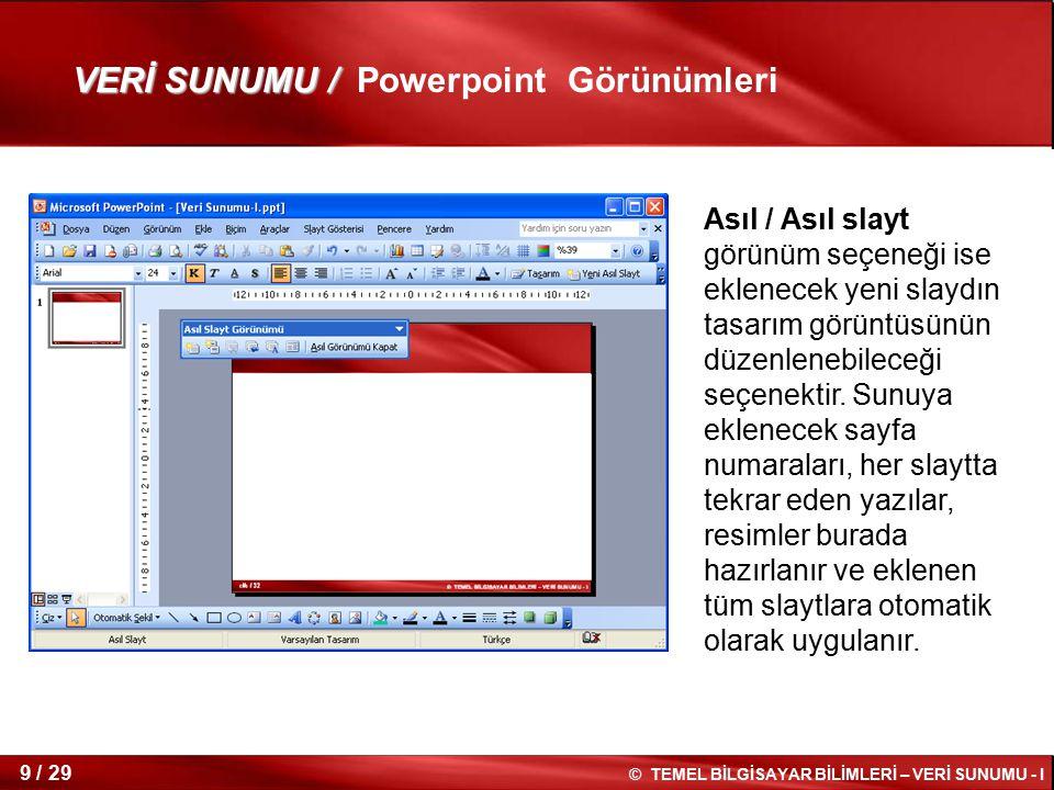 VERİ SUNUMU / Powerpoint Görünümleri