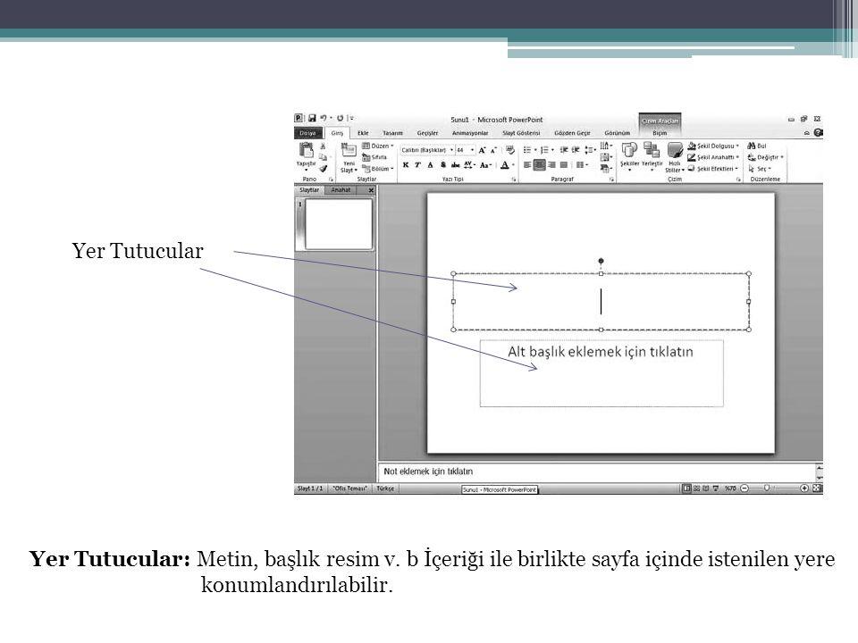 Yer Tutucular Yer Tutucular: Metin, başlık resim v. b İçeriği ile birlikte sayfa içinde istenilen yere.