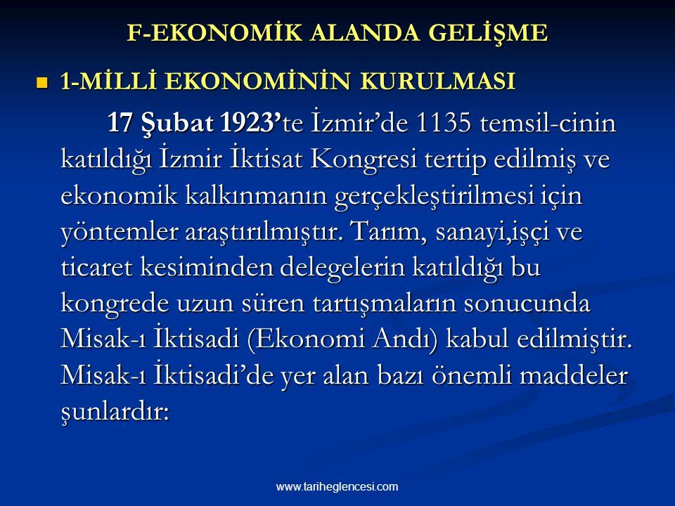 F-EKONOMİK ALANDA GELİŞME