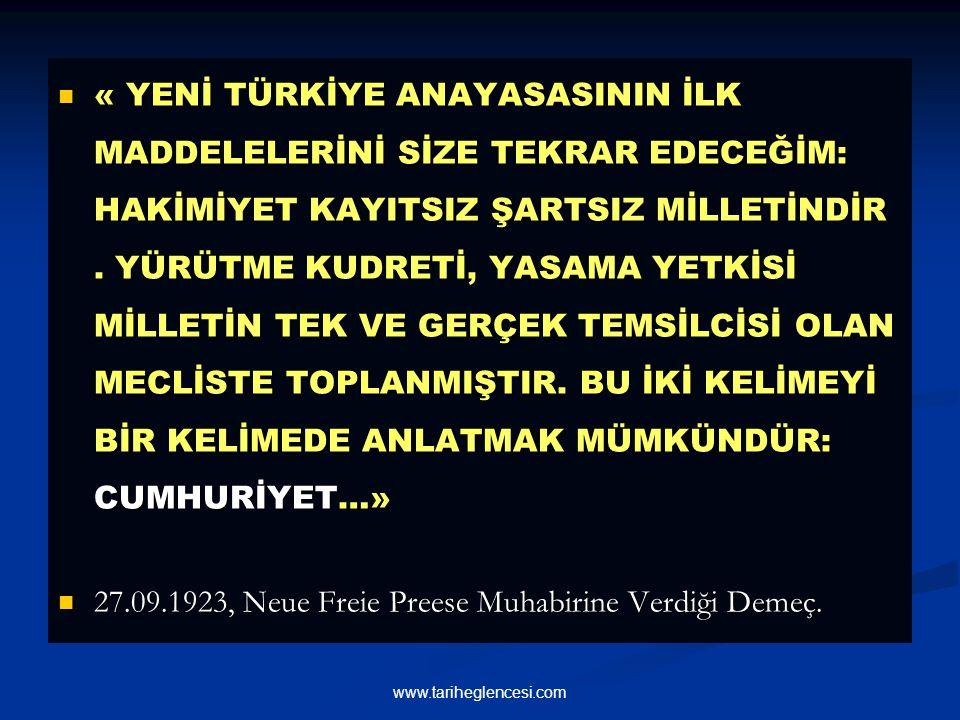 27.09.1923, Neue Freie Preese Muhabirine Verdiği Demeç.