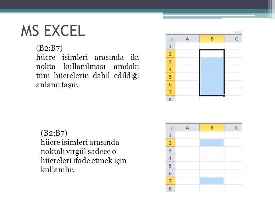 MS EXCEL (B2:B7) hücre isimleri arasında iki nokta kullanılması aradaki tüm hücrelerin dahil edildiği anlamı taşır.