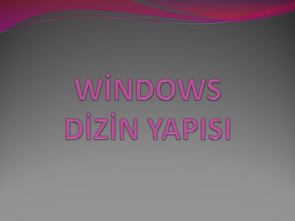WİNDOWS DİZİN YAPISI