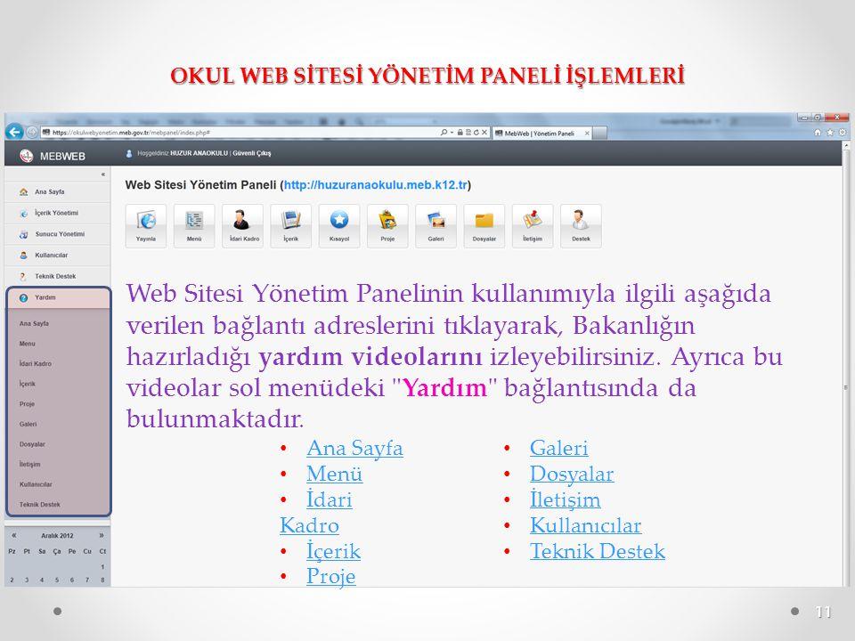 OKUL WEB SİTESİ YÖNETİM PANELİ İŞLEMLERİ