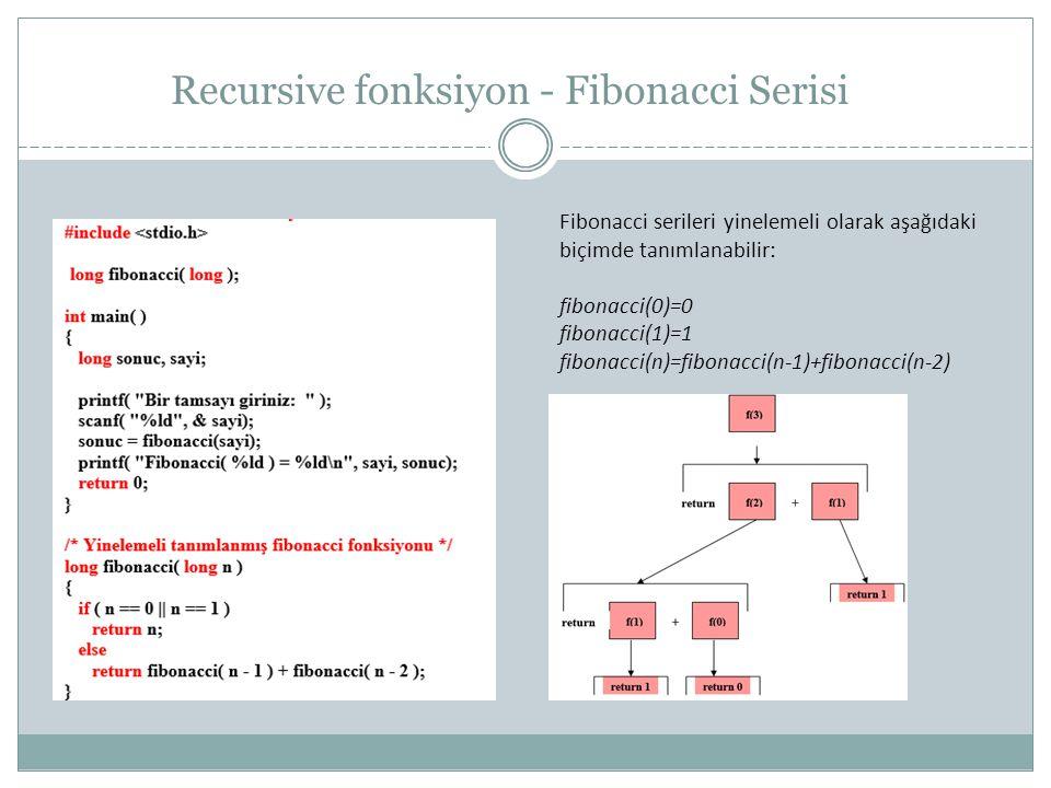 Recursive fonksiyon - Fibonacci Serisi