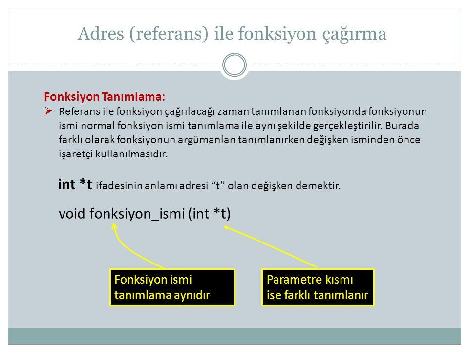 Adres (referans) ile fonksiyon çağırma