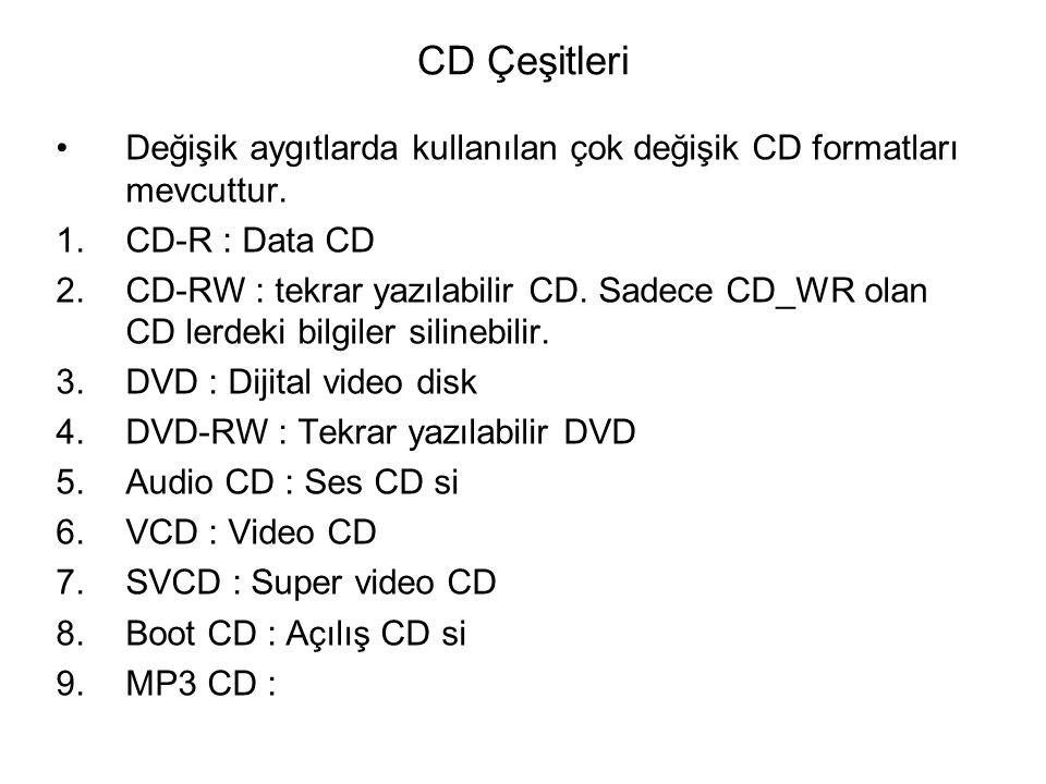 CD Çeşitleri Değişik aygıtlarda kullanılan çok değişik CD formatları mevcuttur. CD-R : Data CD.