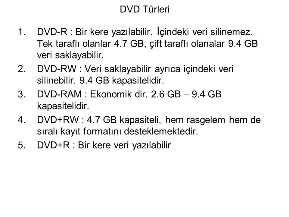 DVD Türleri DVD-R : Bir kere yazılabilir. İçindeki veri silinemez. Tek taraflı olanlar 4.7 GB, çift taraflı olanalar 9.4 GB veri saklayabilir.