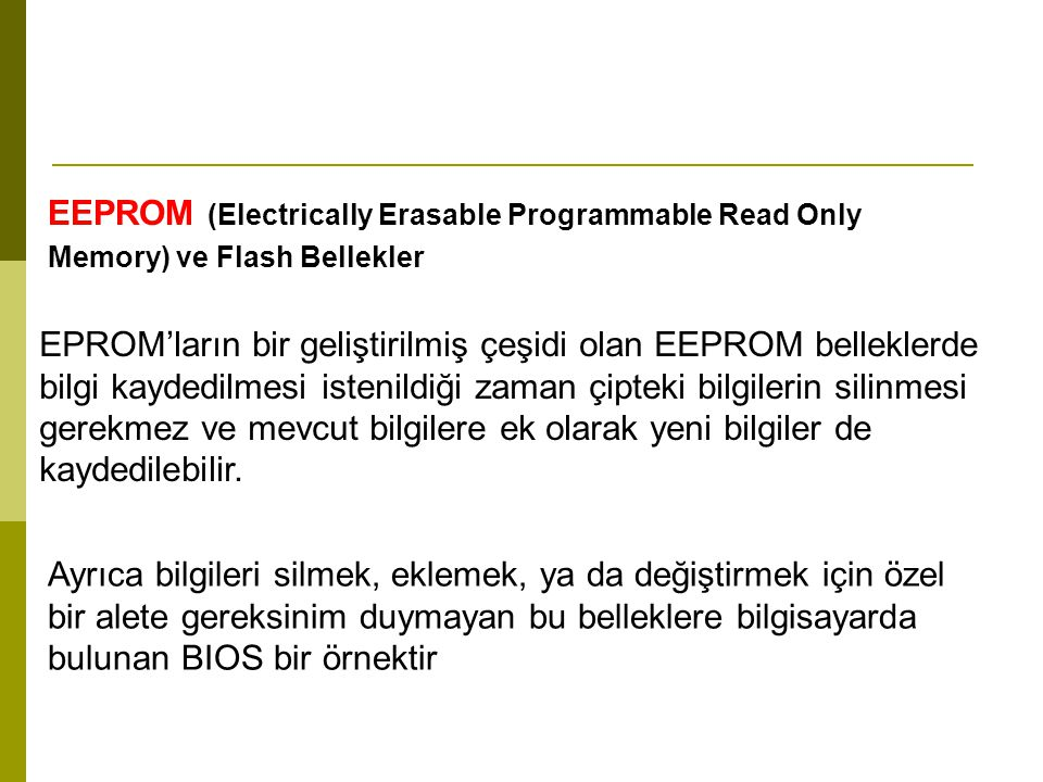 EEPROM (Electrically Erasable Programmable Read Only Memory) ve Flash Bellekler