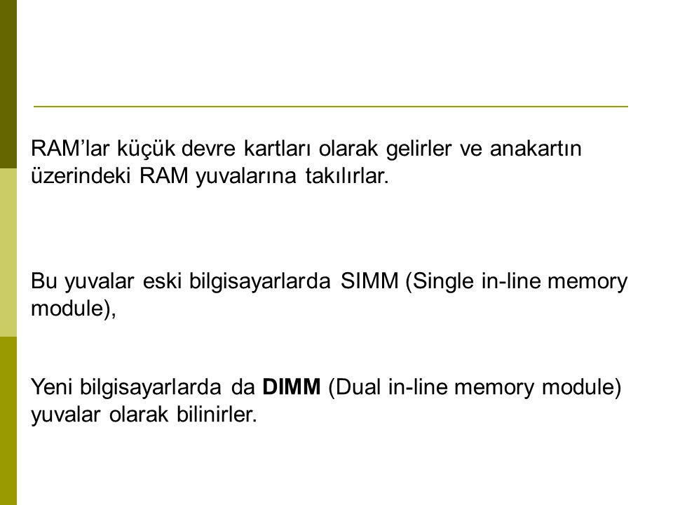 RAM'lar küçük devre kartları olarak gelirler ve anakartın üzerindeki RAM yuvalarına takılırlar.