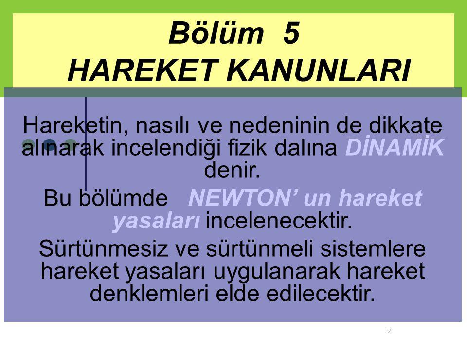 Bölüm 5 HAREKET KANUNLARI