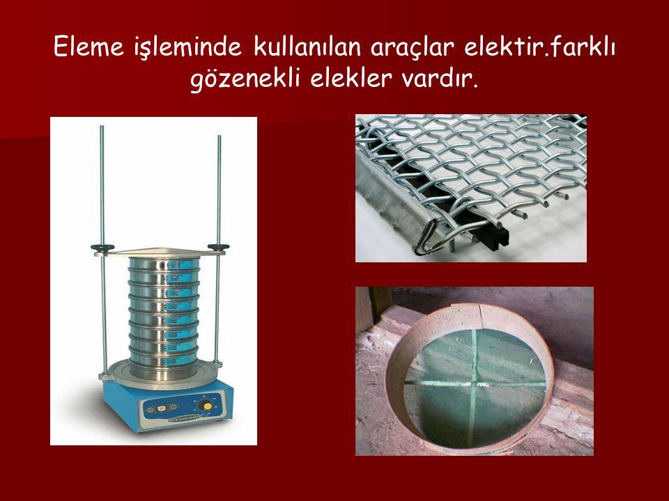 Eleme işleminde kullanılan araçlar elektir