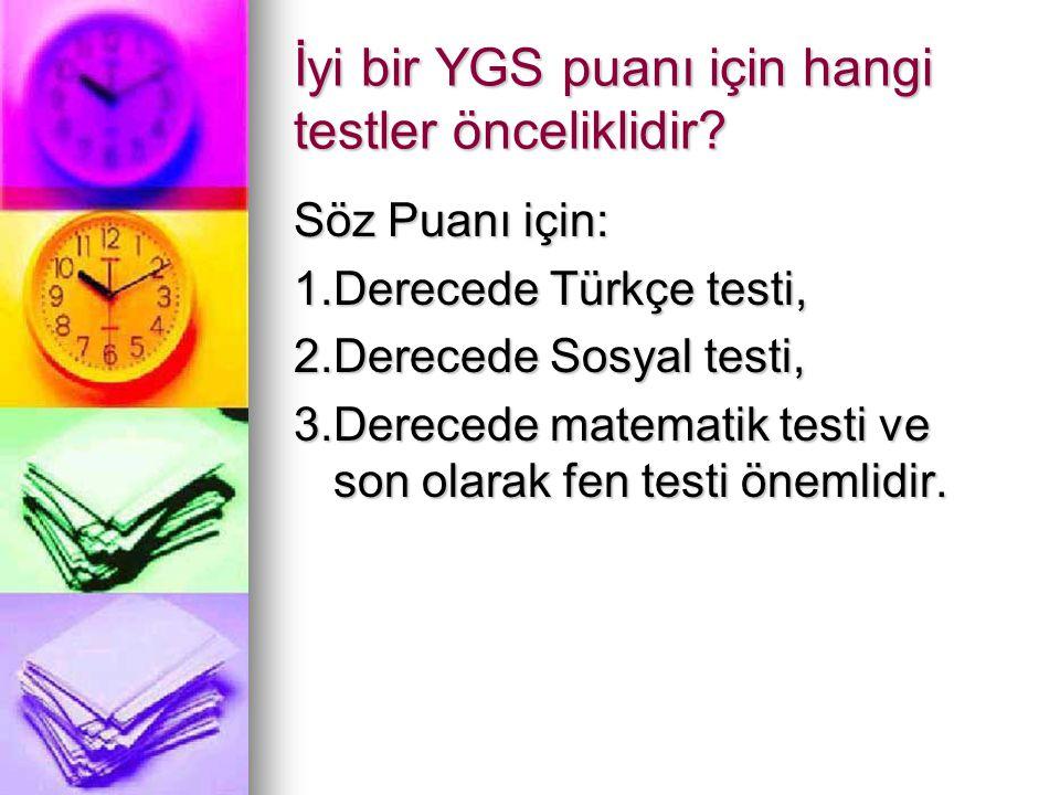 İyi bir YGS puanı için hangi testler önceliklidir