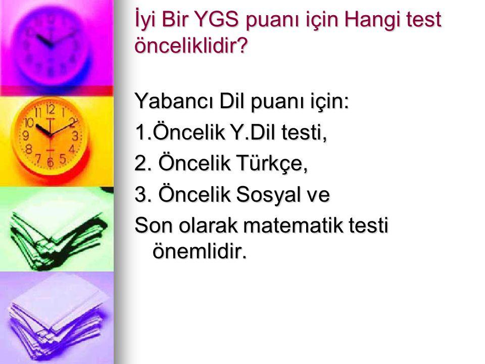 İyi Bir YGS puanı için Hangi test önceliklidir