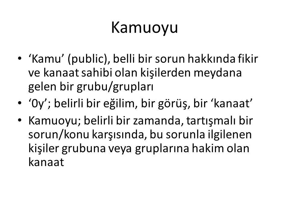 Kamuoyu 'Kamu' (public), belli bir sorun hakkında fikir ve kanaat sahibi olan kişilerden meydana gelen bir grubu/grupları.