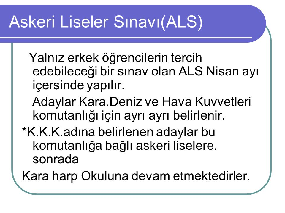 Askeri Liseler Sınavı(ALS)