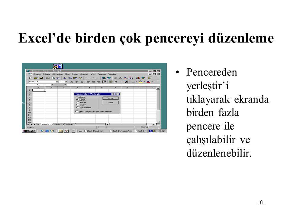 Excel'de birden çok pencereyi düzenleme
