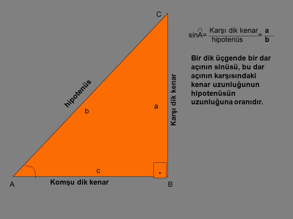 . C Karşı dik kenar a sinA= = hipotenüs b