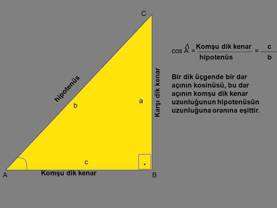 . C V Komşu dik kenar c cos A = = hipotenüs b