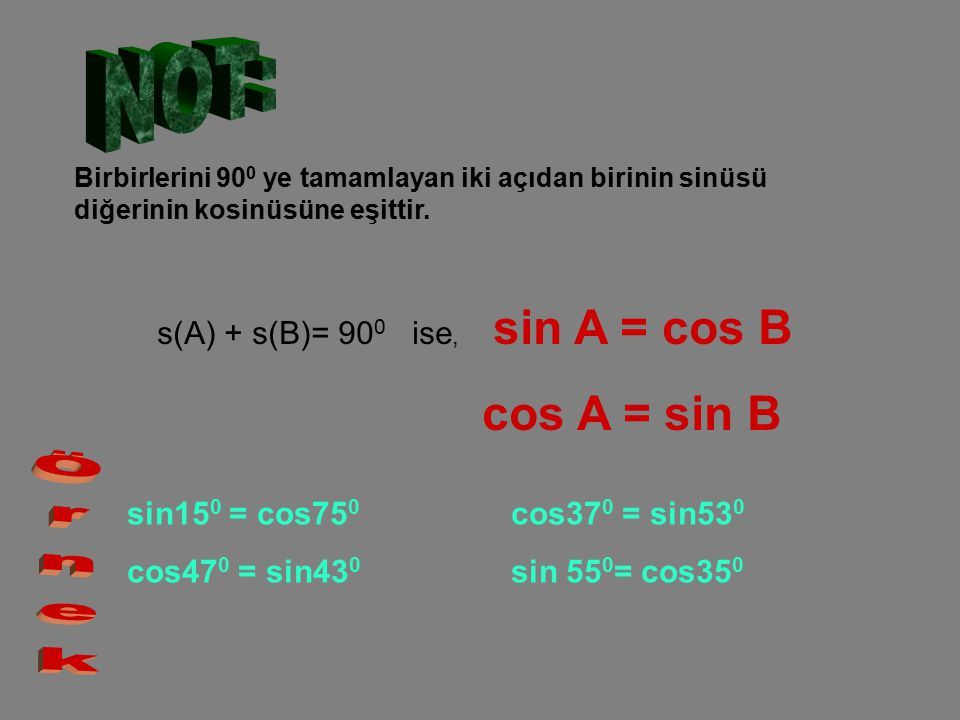 NOT: cos A = sin B Örnek s(A) + s(B)= 900 ise, sin A = cos B