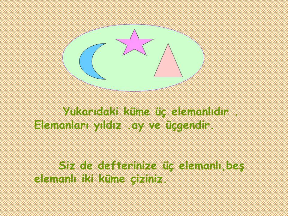 Yukarıdaki küme üç elemanlıdır . Elemanları yıldız .ay ve üçgendir.