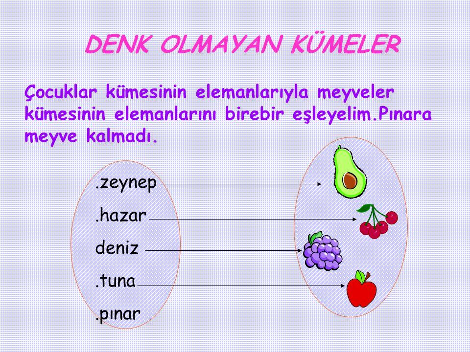 DENK OLMAYAN KÜMELER Çocuklar kümesinin elemanlarıyla meyveler kümesinin elemanlarını birebir eşleyelim.Pınara meyve kalmadı.