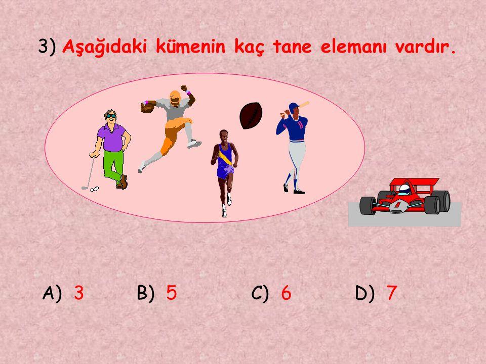 3) Aşağıdaki kümenin kaç tane elemanı vardır.