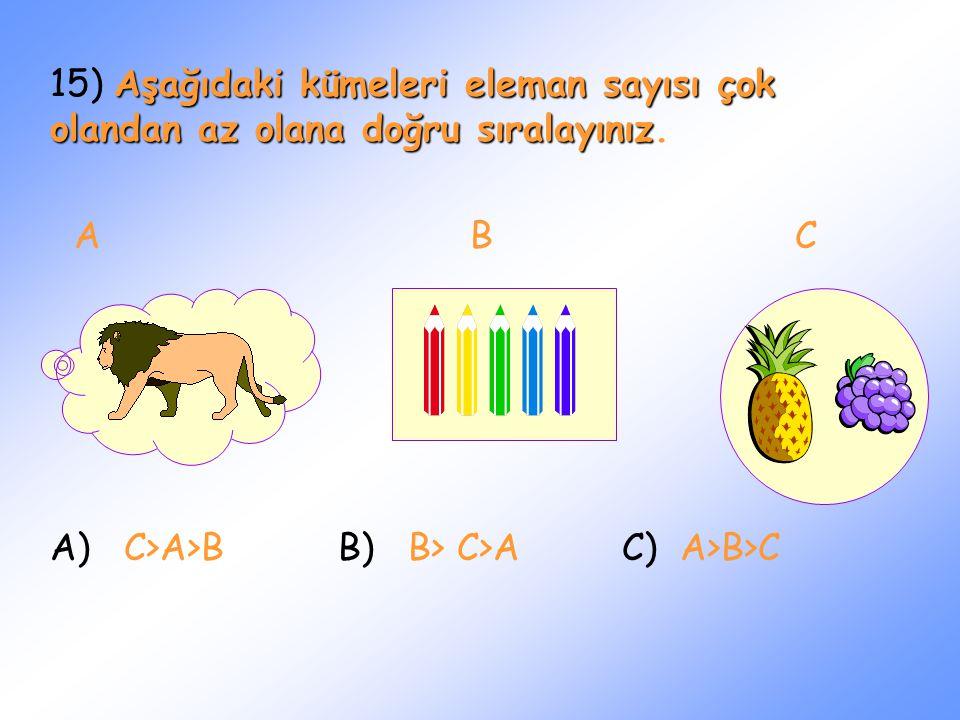 15) Aşağıdaki kümeleri eleman sayısı çok olandan az olana doğru sıralayınız.