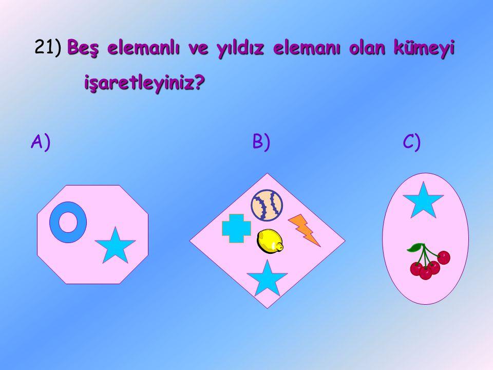 21) Beş elemanlı ve yıldız elemanı olan kümeyi