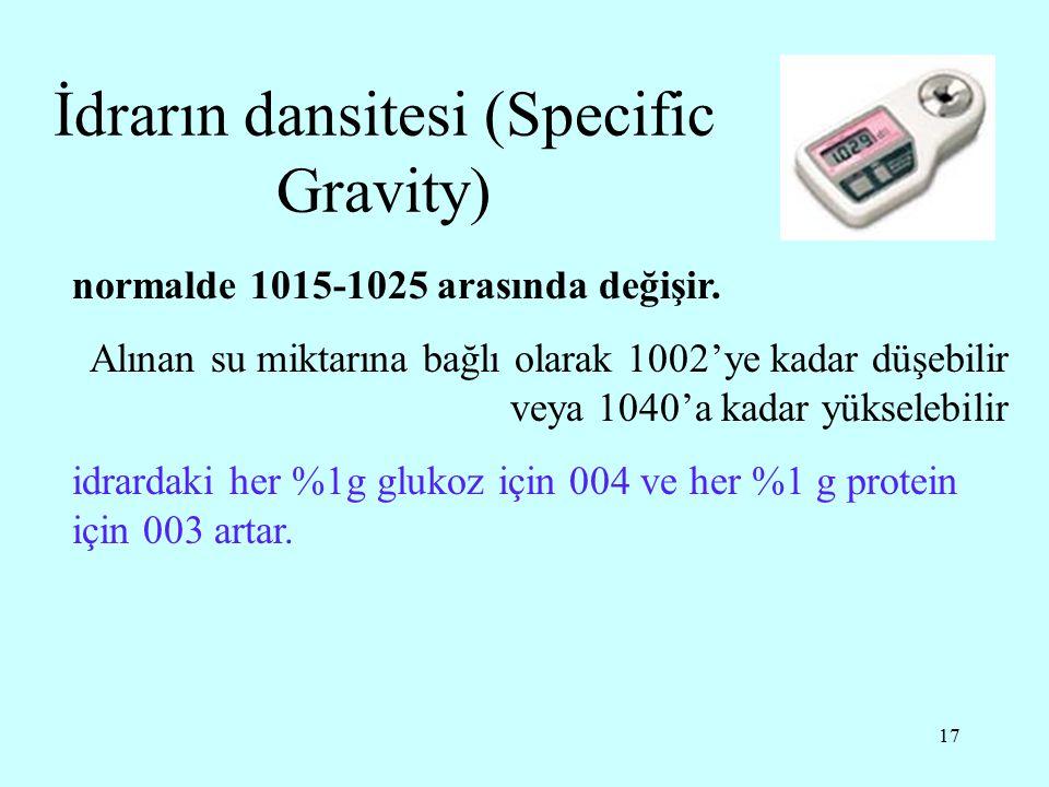 İdrarın dansitesi (Specific Gravity)