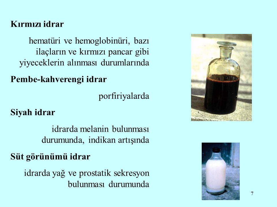 Kırmızı idrar hematüri ve hemoglobinüri, bazı ilaçların ve kırmızı pancar gibi yiyeceklerin alınması durumlarında.