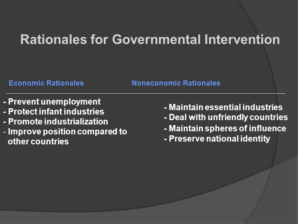 Rationales for Governmental Intervention
