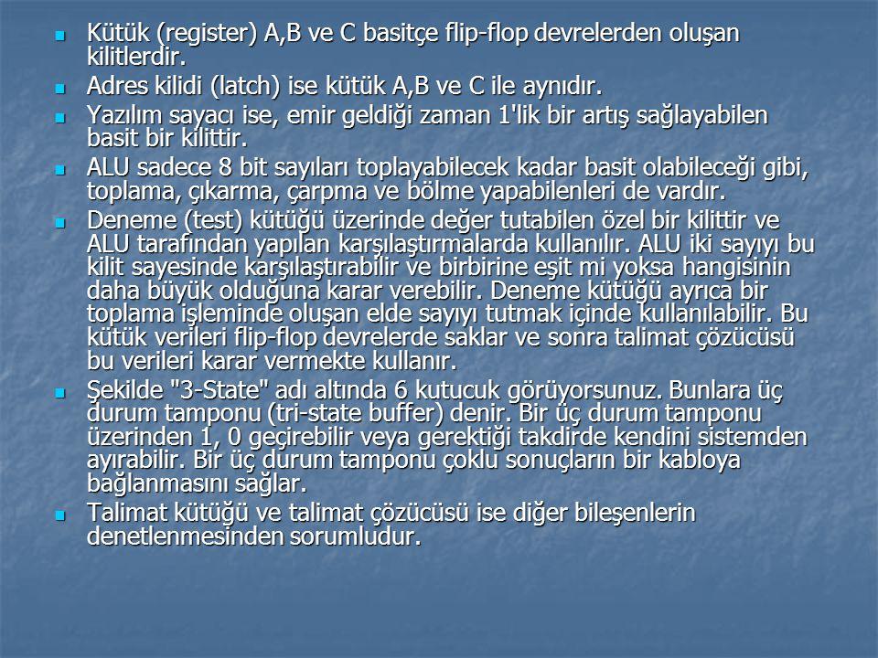 Kütük (register) A,B ve C basitçe flip-flop devrelerden oluşan kilitlerdir.
